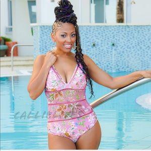 Elaine Floral Queen One Piece Pink Resort Swimsuit